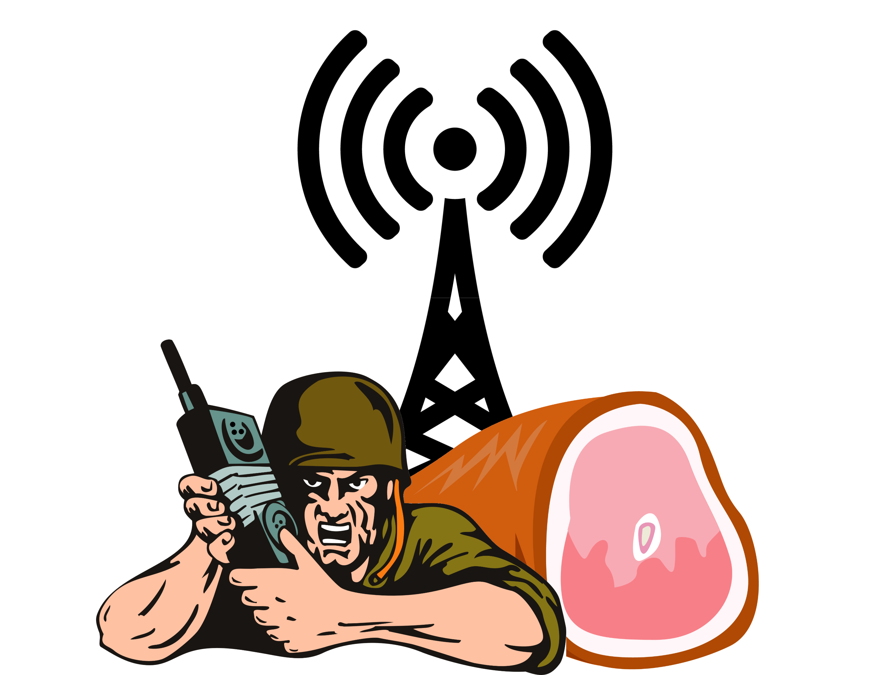 Soldier holding radio in front of a ham hawk and radio tower